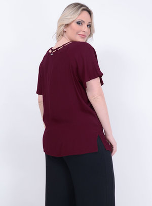 Blusa Strappy Bordô Plus Size