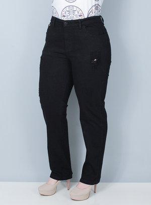 Calça Reta em Jeans Preta Destroyed
