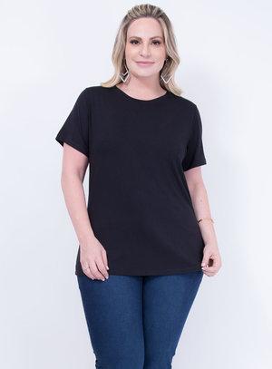 T-shirt em Malha Decote Careca Preto