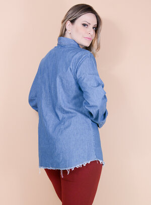 Camisa Jeans Desfiada