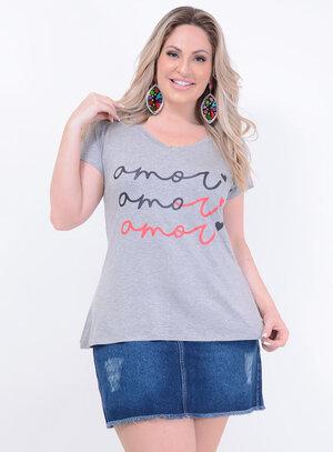 T-shirt em Malha Estampada com Frase: