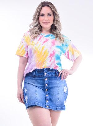 T-Shirt Plus Size Tie Dye Clássica