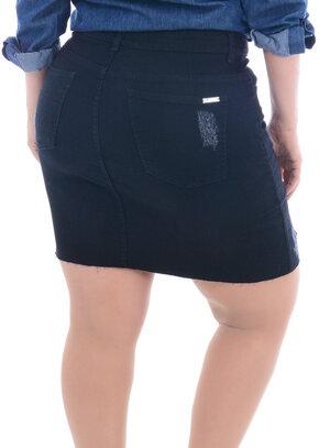 Saia Jeans Plus Size Preta