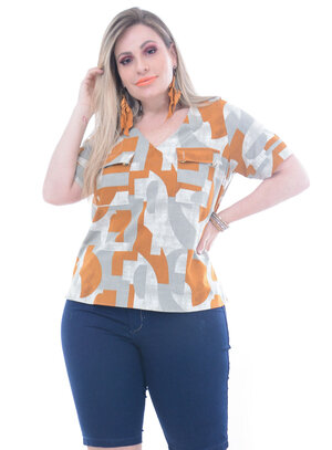 Blusa Predilect´s Bolsos Plus Size