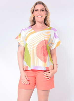 Blusa Plus Size Abstrata
