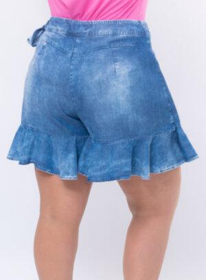 Short Saia Plus Size Jeans com Babados