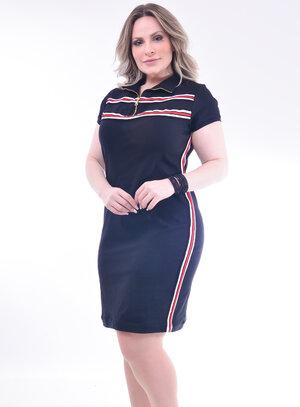 Vestido Plus Size Preto com Listra
