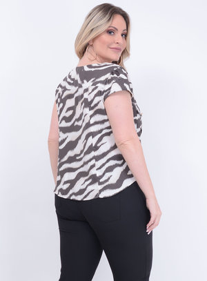 Camisa de Nó Animal Print Plus Size