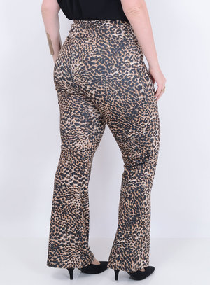 Calça Flare Animal Print Plus Size
