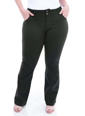 Calça Jeans True E- Motion Verde Militar Plus Size