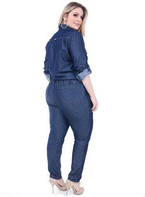 Macacão Jeans Cambos Botões Plus Size
