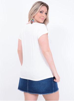 T-shirt Malha Choker Boleto Plus Size