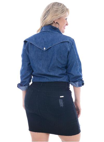 Camisa Jeans Plus Size Vana