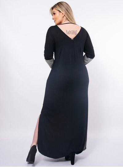 Vestido Longo Plus Size Fenda Lateral