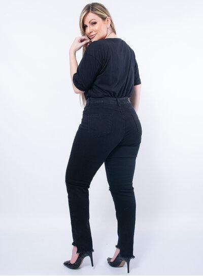 Calça Jeans Plus Size Desfiada