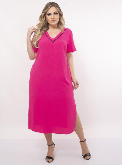 Vestido Plus Size Fenda Lateral