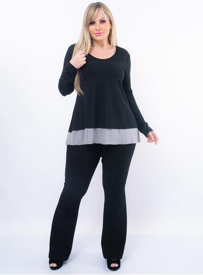 Blusa Plus Size Detalhe na Barra