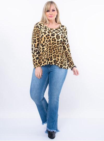 Blusa Plus Size Animal Print Mullet