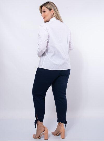 Camisa Plus Size Manga Longa Bufante