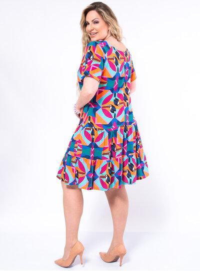 Vestido Plus Size Estampa Tropical