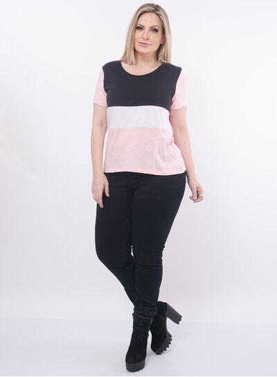 T-Shirt Plus Size Tricolor Rosa