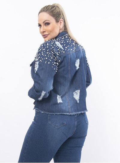 Jaqueta Plus Size Jeans com Pérolas