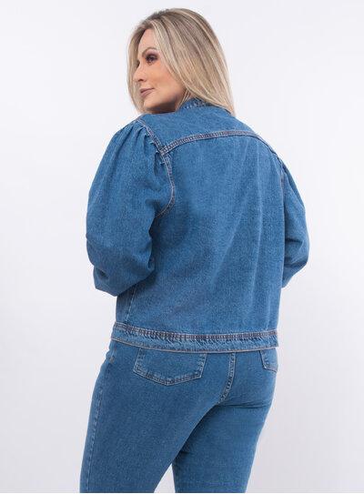 Jaqueta Plus Size Jeans Manga Bufante