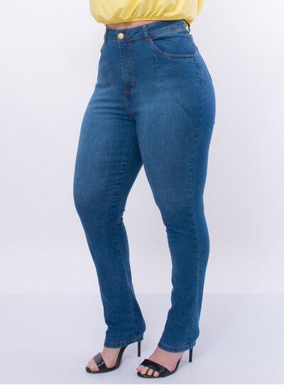 Calça Plus Size Jeans Cintura Super Alta
