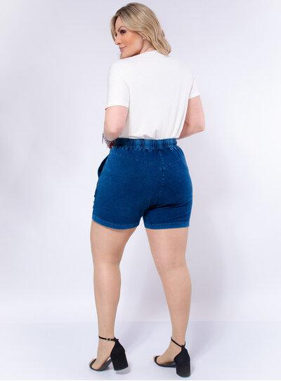 Short Plus Size Imita Jeans com Recortes