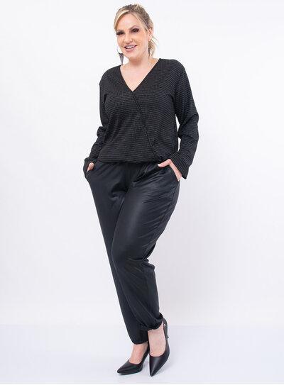 Blusa Plus Size Listras em Lurex