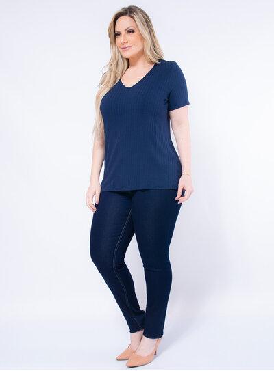 Blusa Plus Size em Malha Canelada