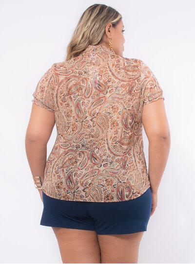 Camisa Plus Size Estampa Paisley