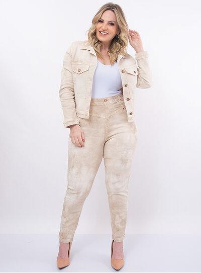 Jaqueta Plus Size Jeans Marmorizado