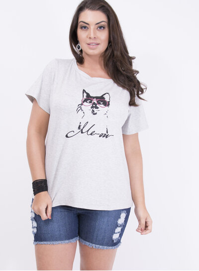 T-shirt em Malha Estampada com Gato