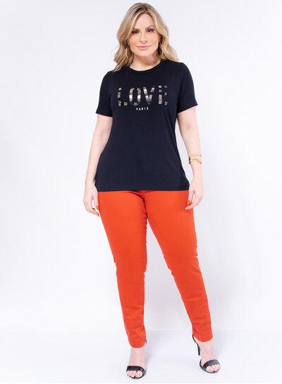 T-Shirt Plus Size Bordada Love
