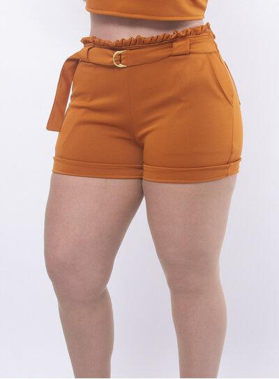 Short Plus Size Cinto com Fivela