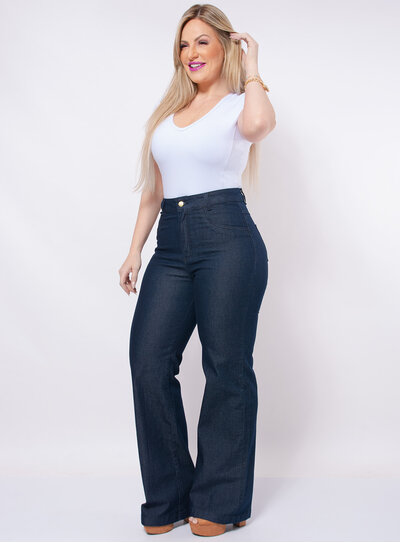 Calça Pantalona Plus Size Jeans Azul
