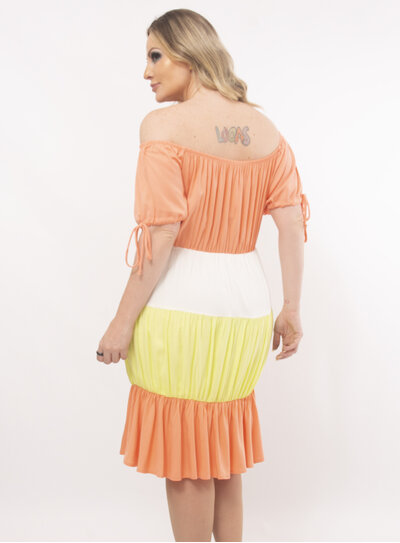 Vestido Plus Size Bloco de Cores