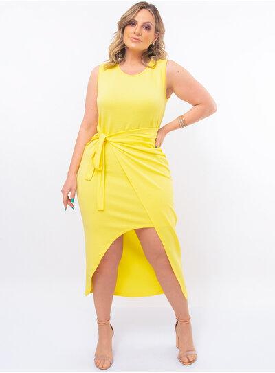 Vestido Plus Size Amarelo