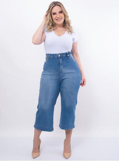 Calça Plus Size Pantacourt Jeans