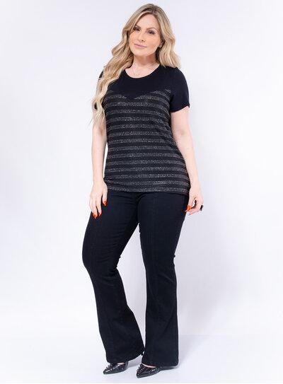 Blusa Plus Size Fios de Lurex