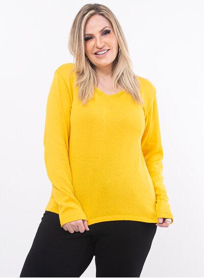 Blusa Plus Size Tricot Amarela