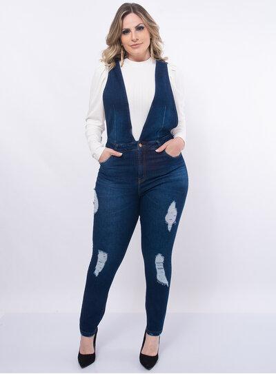 Calça Jardineira Plus Size Jeans