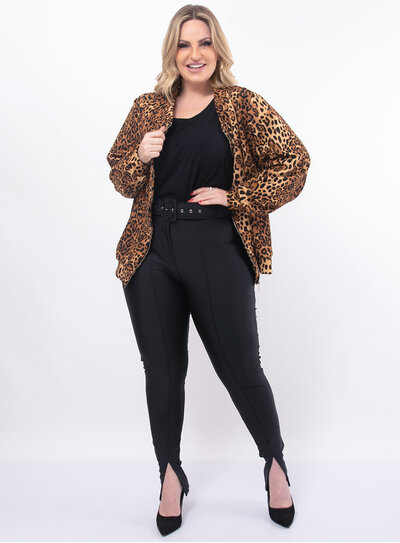 Jaqueta Plus Size Animal Print
