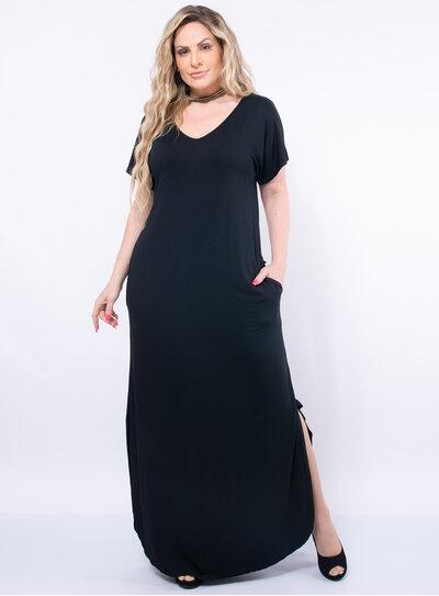 Vestido Longo Plus Size Manga Curta com Bolsos