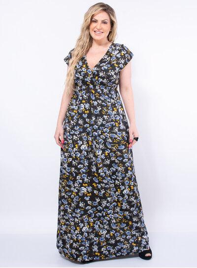 Vestido Longo Plus Size Florido de Elástico
