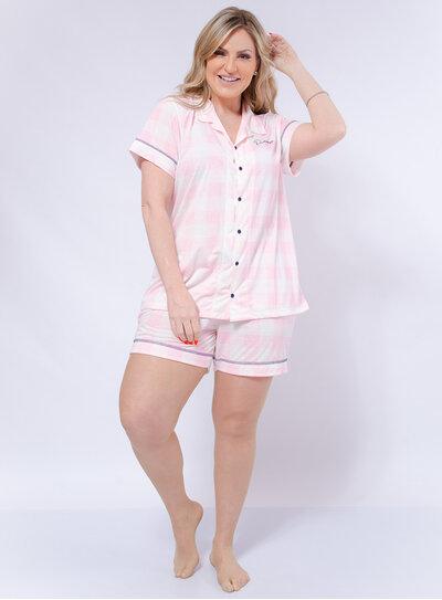 Pijama Plus Size Curto Xadrez