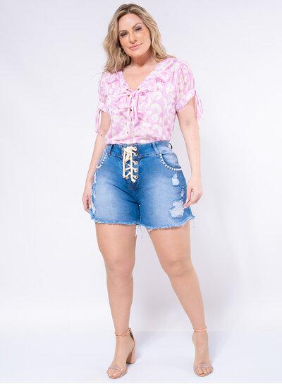 Short Jeans Plus Size Pérolas e Cordão