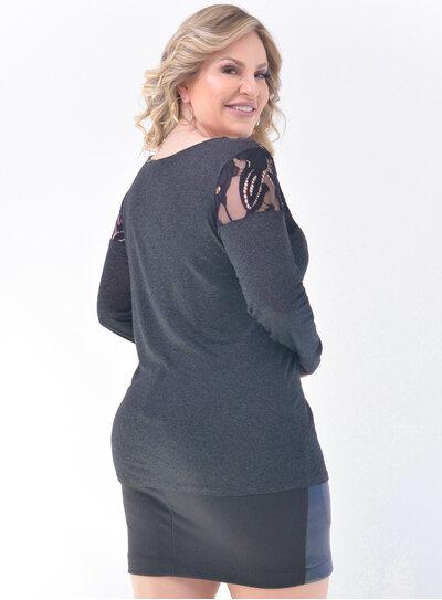 Blusa Plus Size Renda Grafite