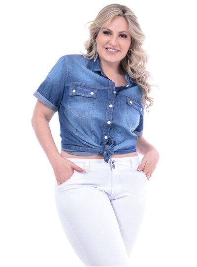 Camisa Jeans Ly Fashion Tradicional Plus Size